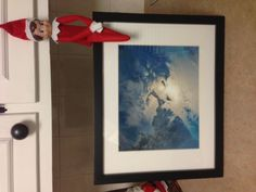 This Elf shot comes to us from Meredith M. in PA. Who would have guessed Santa flies so high over Cape Cod? This Elf on the shelf has the proof! The Elf, Elf On The Shelf, Gift Certificates, Cape Cod, Have Fun, Santa, Holiday Decor, Creative, Cod