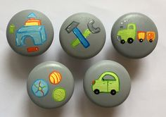 Möbelgriffe -  Möbelknöpfe Spielzeug 5-er Set Wunschfarbe - ein Designerstück von SuAn-Bilder bei DaWanda