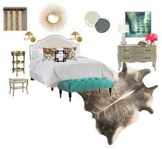 Cozy glam bedroom design board. Bedroom decor. Bedroom ideas. Coastal decor. Decorating ideas for bedroom. Coastal design. Blue and white bedrooms. www.simplestylings.com