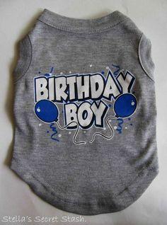 "NEW Dog Clothes T-SHIRT Happy BIRTHDAY BOY Balloons PARTY TANK TEE XS 8"" GRAY"
