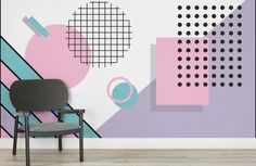 Pastel Modern Shapes Wall Mural | Murals Wallpaper