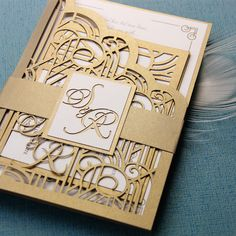 Bespoke Laser Cut Wedding Invitation Set from Cartalia - perfect for your Art Deco / Gold / Gatsby wedding theme! Laser Cut Wedding Stationery, Wedding Invitation Sets, Invitation Design, Wedding Ring Box, Gatsby Wedding, London Wedding, Art Deco Wedding Theme, Unique Weddings, Bespoke