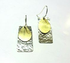 Silver And Gold Earrings Geometric Dangle Drop Metalwork Handcrafted Hand Hammered  Mixed MetalGift For Her Handmade Jewelry Greek Jewelry by PlanetEarthHandmade on Etsy