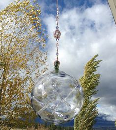 Pixie Fairy Orb / Witch Ball, Hand Blown Glass, Hanging Ornament, Purple with Purple and White Cane Bead by AspenHotGlass on Etsy