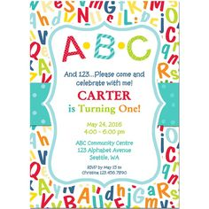 ABC 123 Birthday Party Invitation