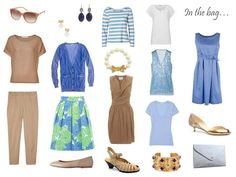 camel and blue things to pack for a leisure, but dressy, vacation