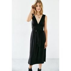 Silence + Noise Jagger Midi Dress ($79) ❤ liked on Polyvore featuring dresses, black, black plunge dress, v neck sleeveless dress, plunge dress, black fitted dress and black v neck dress