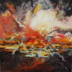 Fire by Connie Miller Palette Knife Impasto ~ 36 x 36