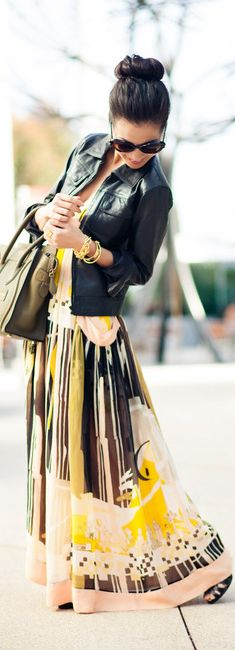 Maxi skirt and leather jacket spring style