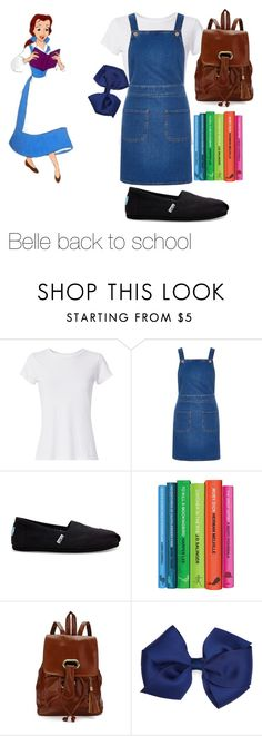 """""""belle back to school"""" by adisneygirlme ❤ liked on Polyvore featuring Disney, Hanes, River Island and TOMS"""