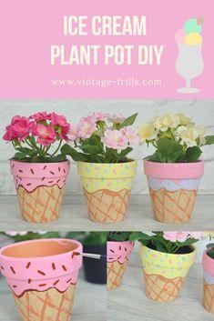 Ice Cream Painted Plant Pot DIY - Plant Pot - Ideas of Plant Pot - Ice cream painted plant pot diy Flower Pot Crafts, Clay Pot Crafts, Diy Crafts, Painted Plant Pots, Painted Flower Pots, Mothers Day Flower Pot, Ice Cream Painting, Diy Recycling, Ice Cream Theme
