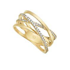Anel em ouro amarelo 18k e 25,5 pts de diamantes. Joias Vivara. Coleção Estelar
