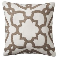 """Threshold™ Lattice Toss Pillow - Cream (18x18"""") from Target for livinh room to sdd a little pattern...would be nice with solid turquoise pillows!"""