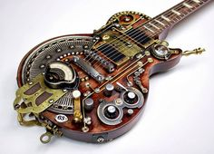Steampunk Guitar Custom Made by Carlos4728 https://www.facebook.com/photo.php?fbid=220118501445232=a.196748357115580.1073741829.196740567116359=1