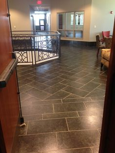 Crossville's Bluestone porcelain #tile collection in a bank
