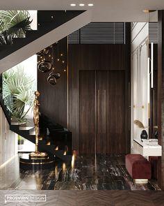 Villa in Dubai on Behance Foyer Design, Entrance Design, House Entrance, Staircase Design, Hallway Designs, Luxury Homes Interior, Luxury Home Decor, Luxury Apartments, Home Interior Design