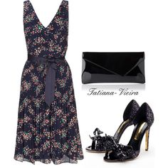 A fashion look from February 2014 featuring navy blue v neck dress, black glitter sandals and hand bags. Browse and shop related looks. Dressy Outfits, Stylish Dresses, Fashion Beauty, Fashion Looks, Dress Attire, Outfit Combinations, Fashion Sets, Womens Fashion, Playing Dress Up