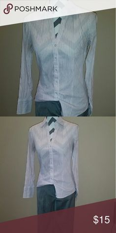 Express Stretch Essential Pink and white stripe Express Tops Button Down Shirts