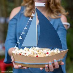 DIY Paper Sailboat Centerpiece for Treats