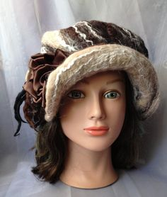 Felted women's hat newsboy hat nunofelted chocolate by Tatiana123, $160.00