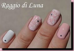 Stamping: White floral on camelia pink