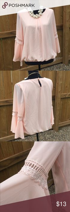 Peach Bell Sleeved Top by IZ Byer Very pretty peach top. Lined with elastic bottom and bell sleeves. Like new condition. Iz Byer Tops