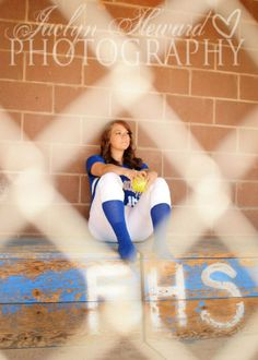 senior photo girl | Softball senior girl photo ideas. Through the fence. dug out. Jaclyn ...