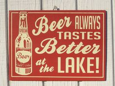 Retro Beer at the Lake Cottage Sign by ZietlowsCustomSigns on Etsy