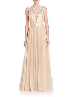 Basix Black Label Illusion Tulle Gown - Champagne