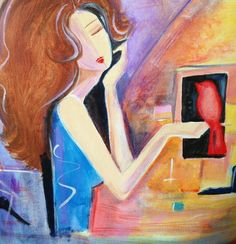 Girl with Red Bird - Art by Kim Wilkowich