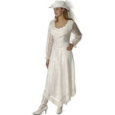 Cowgirl Bridal Gown | Women's Madison white long sleeve western wedding dress - Polyvore