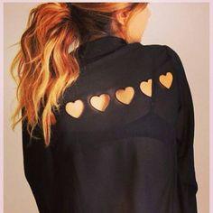 hole heart shirt ~ I like the hair colour more than the shirt.
