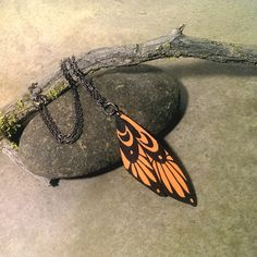 Moon wing necklace orange and black wood jewelry by CrowsdanceDesigns, $35.00 USD