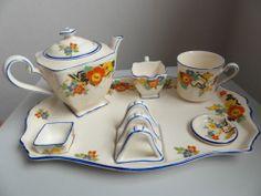 Stunning Staffordshire Art Deco 7 Piece Batchelor's Breakfast Set Breakfast Tray, Carlton Ware, Tea Accessories, Vintage Pottery, Tea Time, Tea Cups, Art Deco, Trays, Vintage Teapots