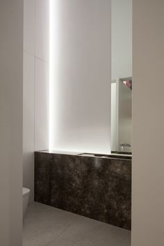 Banheiro minimalista / Bathroom inside the DM Residence by Belgian office CUBYC architects. Photo by Thomas de Bruyne. Bathroom Spa, Bathroom Toilets, Small Bathroom, Washroom, Master Bathroom, Bathroom Lighting, Bathroom Ideas, Bathroom Interior Design, Modern Interior
