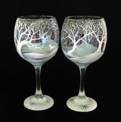 Winter Wonderland Wine Glass Hand Painted, Deer, Tree Branches, Snowy Forest Landscape in Metallic Ice Blue and Pearl White Holiday Stemware