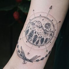 Forest Mountain Moon Tattoos