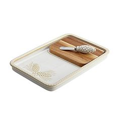 BonJour® Sierra Pine Stoneware Birch Cheese Board and Knife Set