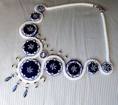 Unique Blue-dyed fabric Kékfestő beaded necklace by TheBeadchanter