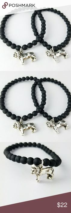 🖤SALE 🖤Matte Black Lion Charm Bracelets FINAL PRICE   Matte Black Czech glass beaded Lion charm Bracelets! Strung on thick stretch cord for durability.   Limited quantity available! Size my be adjusted upon request. High quality materials! Listing is for 1 bracelet.  Magen's Fairytale Creations original handmade by me. Magen's Fairytale Creations Jewelry Bracelets