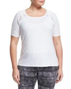 Soybu Plus Reese T-Back Mesh Tee, White, Women's, Size: 2XL