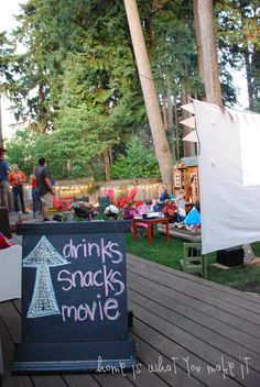 Bucket List Activity #8 DO: DINNER AND A MOVIE ITALIAN-STYLE Is there any finer excuse to have friends over than dining together al fresco under the stars? Why not send out invites for dinner and a movie, screened in your very own backyard (tip: match the movie to the meal)!