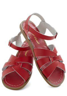 Outer Bank on It Sandal in Red by Salt Water Sandals - Casual, Red, Solid, Buckles, Cutout, Summer, Beach/Resort, Variation, Nautical
