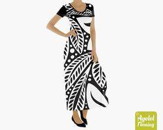 59a48ceebe34 Hawaiian Floral Maxi Dress Polynesian Short Sleeve Black White Long Dresses  for Women by AyeletFleming 129.40 NZD Gorgeous Hawaiian/Polynesian floral  maxi ...