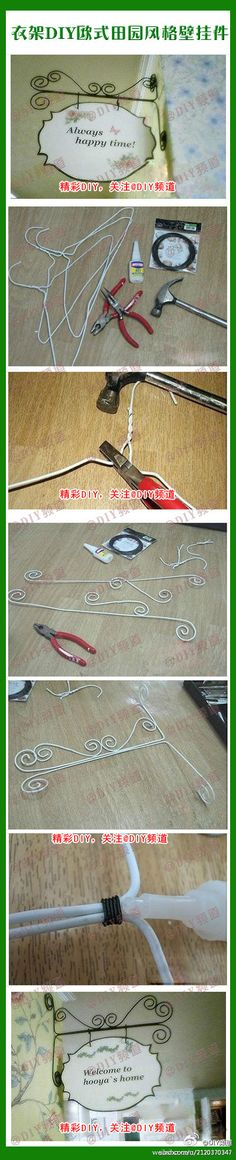 What to do with some of those leftover wire hangers!~ How to make a wire hanging bracket out of a metal coat hanger. Wire Crafts, Fun Crafts, Diy And Crafts, Arts And Crafts, Metal Coat Hangers, Wire Hangers, Clothes Hangers, Hooks, Craft Show Displays