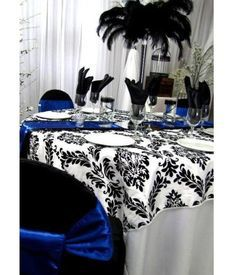 Black & White Damask Scroll, Royal blue accent, feathers