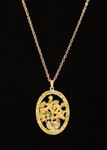Flower Basket Oval Pendant and Chain by GenusJewels on Etsy