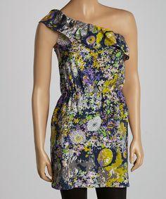 Look at this #zulilyfind! Black & Yellow Floral Asymmetrical Tunic - Women #zulilyfinds