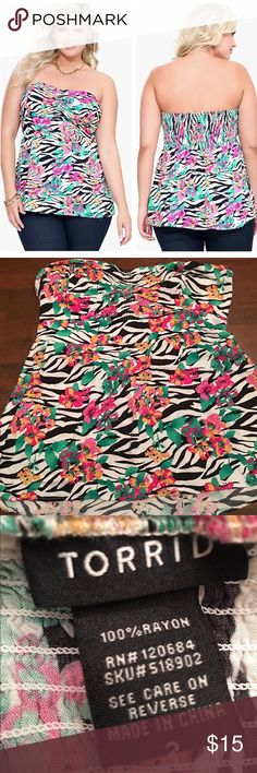 Torrid Zebra & Floral Shirred Strapless Top *Used* Torrid zebra & floral shirred strapless top in plus size 2X (Torrid size 2). Very good condition. ✨BUNDLE+SAVE✨ torrid Tops