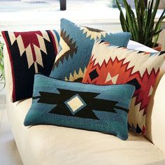 *found them cheaper and a wider selection on Zazzle Aztec Throw Pillows, Signals Catalog Más Southwestern Home, Southwestern Decorating, Southwest Decor, Southwest Style, Southwestern Quilts, Santa Fe Style, Western Homes, My New Room, Rustic Decor